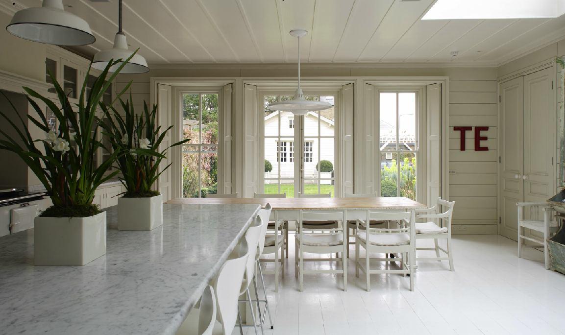 Cocina blanca decoraci n chic for Comedor vintage blanco