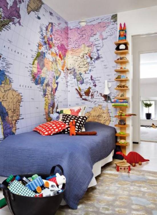 Decorar la habitaci n infantil decoraci n chic - Papel pintado mapa del mundo ...